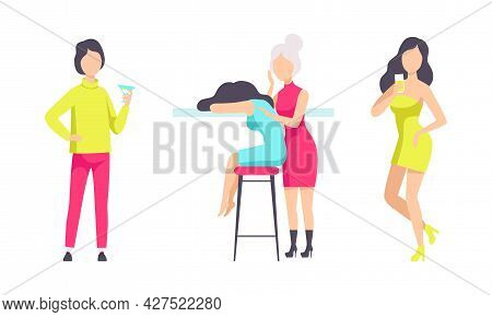 People In Fashionable Outfit Resting And Drinking Cocktails At Bar Or Nightclub Vector Illustration
