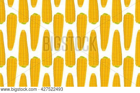 Seamless Pattern With Ears Of Corn On A Green Background. Summer Or Autumn Yellow Vegetable Harvest