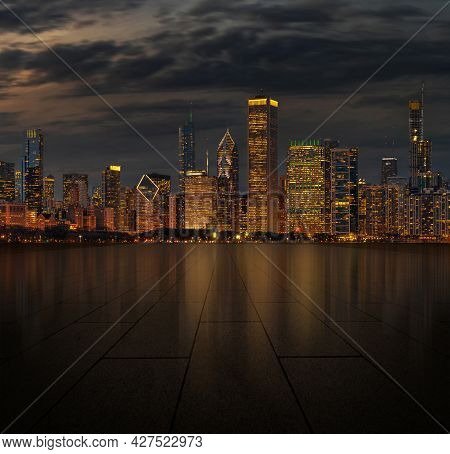 Automotive And Parking Lot Concept, Road Of Parking Over Chicago Cityscape River Side At Night Time