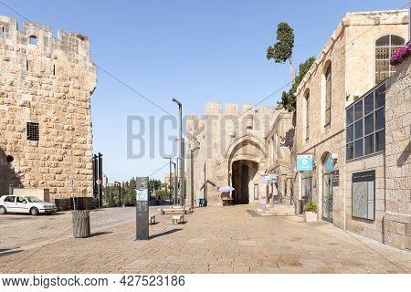 Jerusalem, Israel, July 17, 2021 : The Al Batriarkeya Al Armaneya Street, Leading From The Old City