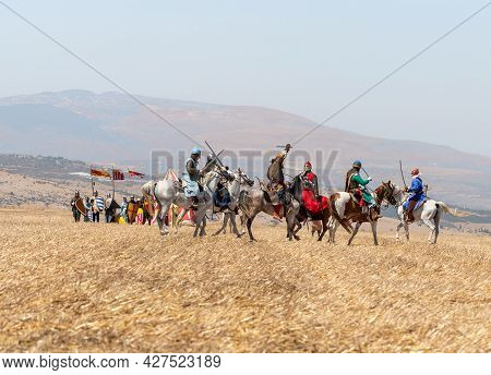 Tiberias, Israel, July 02, 2021 : Horse And Foot Warriors - Participants In The Reconstruction Of Ho