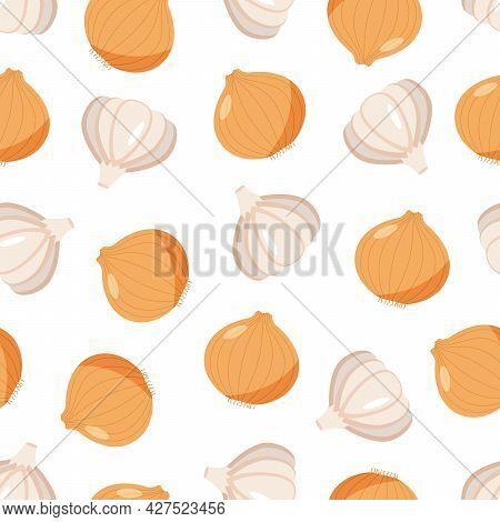 Seamless Pattern With Onion And Garlic Head, Vector Illustration Of Healthy Vegetables, Seasoning Fo
