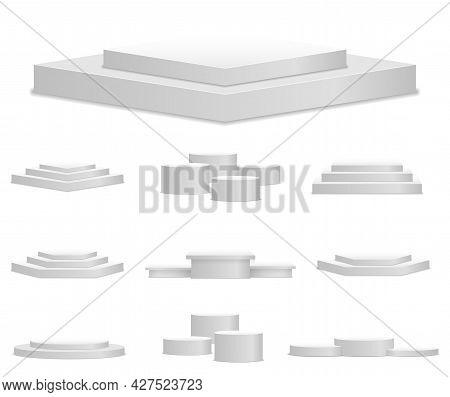 White 3d Podium, Pedestal, Platform, Stand Stage.