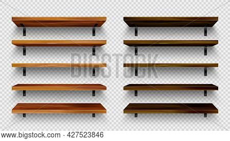 Realistic Empty Wooden Store Shelves Set. Product Shelf With Wood Texture And Black Wall Mount. Old