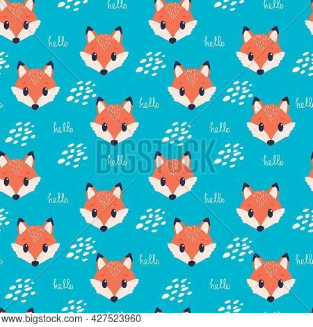 Childish Seamless Pattern With Cartoon Fox. With Sign Hello. Blue Background. Perfect For Kids Appar