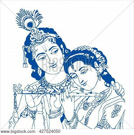 Sketch Of Lord Krishna And Goddess Radha Outline Editable Illustration