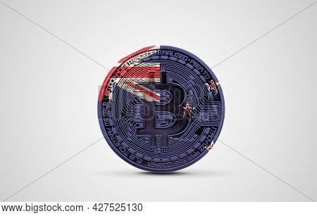 New Zealand Flag On A Bitcoin Cryptocurrency Coin. 3d Rendering