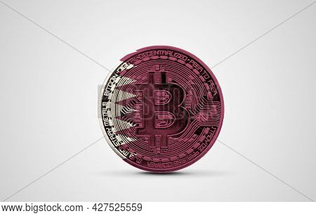 Qatar Flag On A Bitcoin Cryptocurrency Coin. 3d Rendering