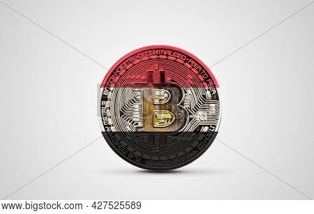 Egypt Flag On A Bitcoin Cryptocurrency Coin. 3d Rendering