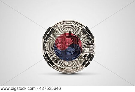 South Korea Flag On A Bitcoin Cryptocurrency Coin. 3d Rendering