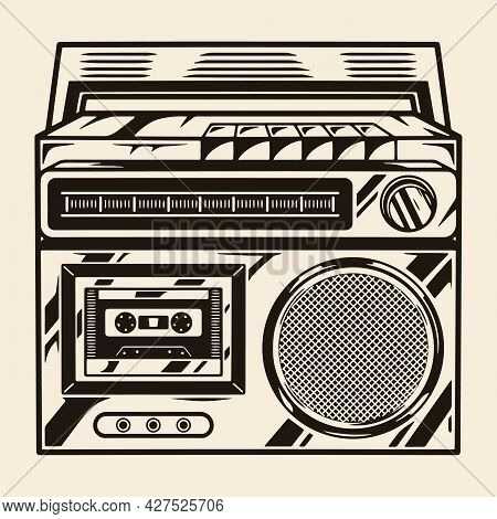 Portable Retro Music Recorder Template In Vintage Monochrome Style Isolated Vector Illustration