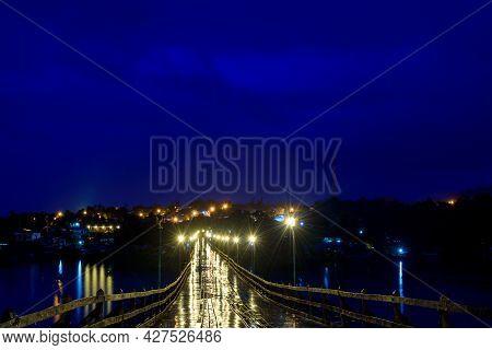 Mon Bridge Or Longest Wooden Bridge In Sangklaburi Kanchanaburi, Thailand.