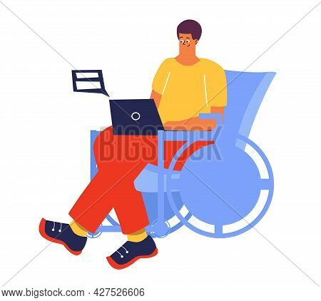 A Man Is Sitting In A Wheelchair With A Laptop. A Man With A Disability Works, Studies Online. Disab