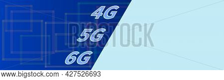 World 4g 5g 6g Speed Telecommunications Topic. Bicolor Vector Banner. Technology Symbol On Blue Back
