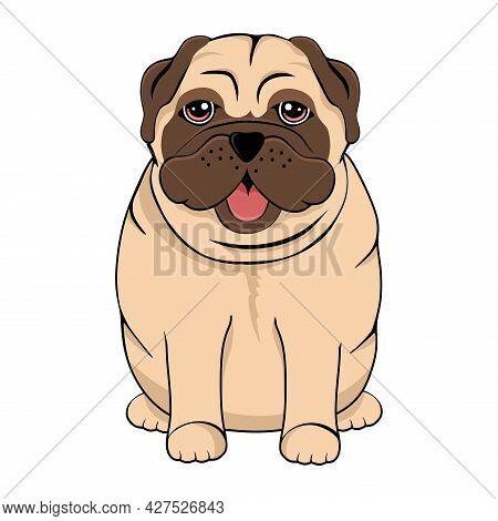 Pug Vector Illustration. Cute Dog. Funny Cartoon Character.