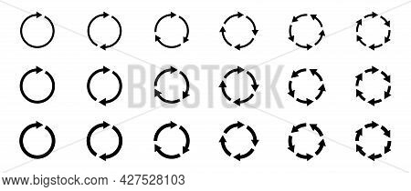 Arrows Icons Set. The Symbol Of Repetition, Reloading Along The Trajectory Of Round Shapes. Vector E