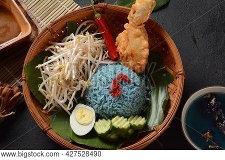 Nasi Kerabu Or Nasi Ulam, Popular Malay Rice Dish. Blue Color Of Rice Resulting From The Petals Of B
