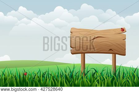 Wooden Sign On Green Meadow Or Field. Vector Landscape. Summer Rural Scene With Hills, Valleys And S