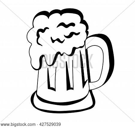 Hand Drawn Beer Glass In Doodle Style. Craft Beer Design And Minimal Vector Illustration Of Beer Mug