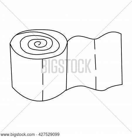 A Roll Of Toilet Paper Drawn With An Outline. Toilet Paper Icon. Vector Illustration