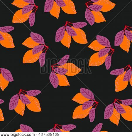 Vector Lemons On A Black Background, A Seamless Pattern With Lemons And Leaves. Pattern For Fabric,