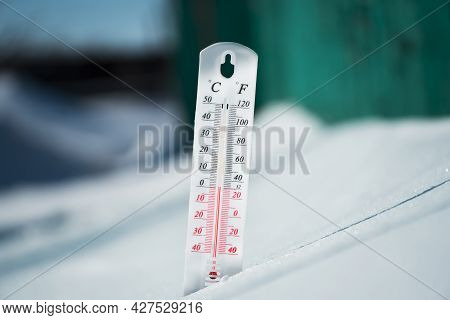 In Winter Or Spring The Thermometer Lies On The Snow And Shows A Negative Temperature In Cold Weathe