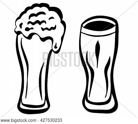 Hand Drawn Beer Glasses In Doodle Style. Craft Beer Design And Minimal Vector Illustration Of Beer M