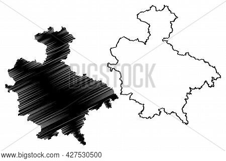 Sigmaringen District (federal Republic Of Germany, Rural District, Baden-wurttemberg State) Map Vect