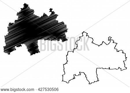 Sommerda District (federal Republic Of Germany, Rural District, Free State Of Thuringia) Map Vector