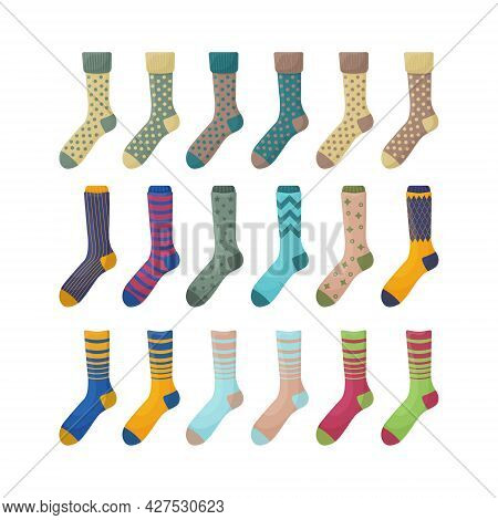 A Large Set With The Image Of Warm Socks In Various Colors And Shapes. Insulated Socks For Walking I
