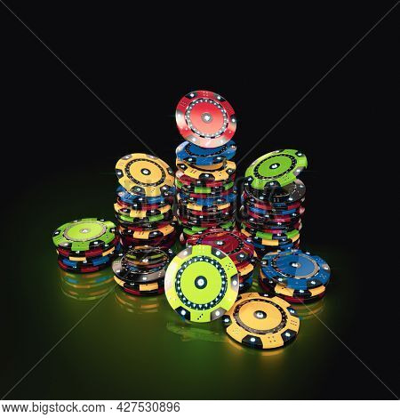 game chips on a green background. gambling concept. 3d render
