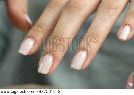 Manicure. Nude Nail Polish, Classic. Overgrown Nail Polish. Manicure Correction. An Old Manicure. Na