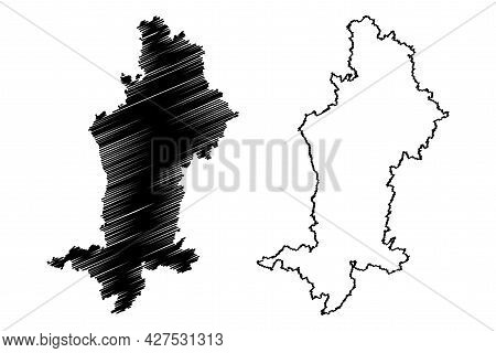 Swabia (federal Republic Of Germany, Administrative Division, Region Free State Of Bavaria) Map Vect