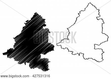 Teltow-flaming District (federal Republic Of Germany, Rural District, State Of Brandenburg) Map Vect