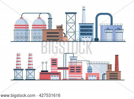Set Of Factory Industry Buildings, Flat Icons.