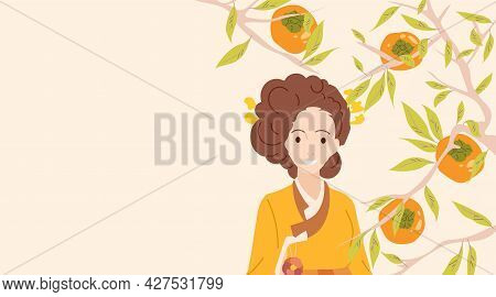 Chuseok Or Hangawi Background. Banner With Copy Space For Korean Thanksgiving Day Or Mid Autumn Fest