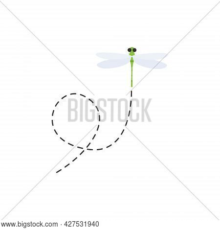 Cute Dragonflies With Dotted Line Route. Green Dragonfly Fling. Vector Illustration Isolated On Whit