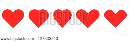 Red Heart Icons. Love Symbol. Heart Shape Collection. Isolated Romantic Symbol. Stock Vector Eps 10