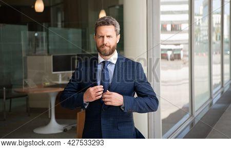 Business Success. Successful Man In Businesslike Suit. Entrepreneur. Male Formal Fashion