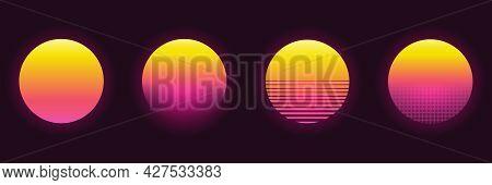 Retro Futuristic Sunset Set In Different Design. 80s Style. Retrowave, Synthwave Futuristic Backgrou