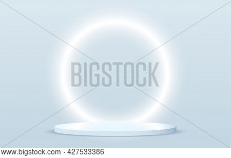 Stage Podium Decorated With Neon Circle Lighting. Realistic 3d Rendering Pedestal And Wall On Blue B