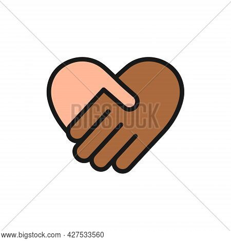 Handshake In Heart Shape Icon. National Tolerance Symbol. Global Communication Sign. No To Racism Co