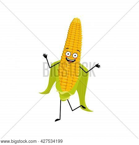 Cute Corn Cob Character Cheerful With Emotions Dancing, Smile Face, Arms And Legs. The Funny Harvest