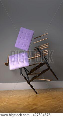 Home Interior, Luxury Modern  Living Room Interior, Empty Wall Mock Up, 3d Render