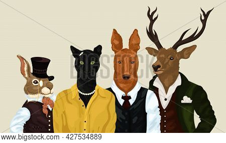 Hipster Animals Set. People Art Animal, Characters Portrait Animals In Clothes Fashion