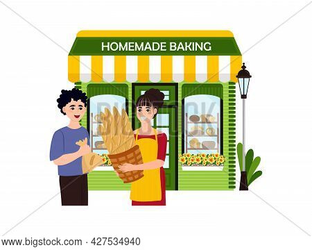 Family Homemade Baking Business Bundle Of Flat Scenes. Owners And Customers. Vector Illustration Eps