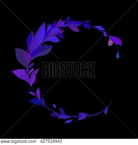 Purple Leaves On A Black Background. Round Frame With Leaves. Vector Leaves For Your Design. Vector