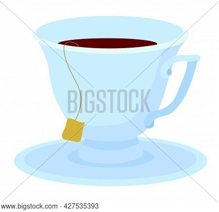 A Pair Of Tea, A Cup And Saucer With A Hot Aromatic Tea Drink. Vector Stock Illustration Isolated On