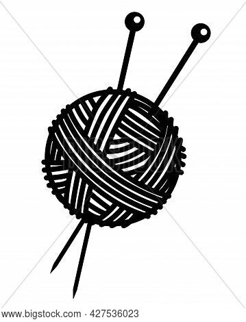 Knitting - Ball Of Yarn With Needles Stuck In It. A Clew And Knitting Needles - Vector Silhouette Il
