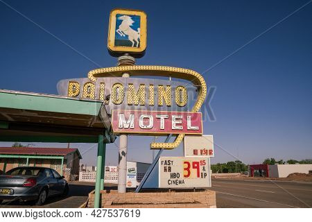Tucamcari, New Mexico - May 6, 2021: The Old Palomino Motel With The Classic Neon Sign, Along Route
